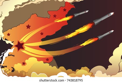 Vector map of North Korea with cities as red stars and missiles, nuclear war vector background.