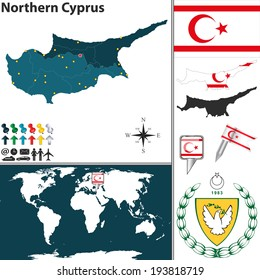 Vector map of Northern Cyprus with regions, coat of arms and location on world map