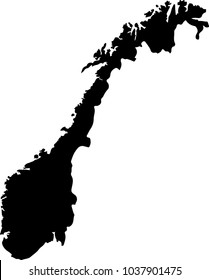 Vector map of Norway. Black mask. Isolated, white background.