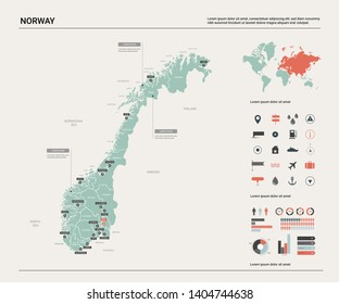 Vector map of Norway. Country map with division, cities and capital Oslo. Political map,  world map, infographic elements.