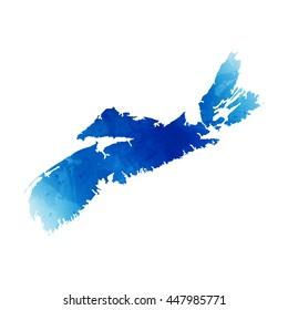 Vector map Nova Scotia. Isolated vector Illustration. Watercolor effect. EPS 10 Illustration.