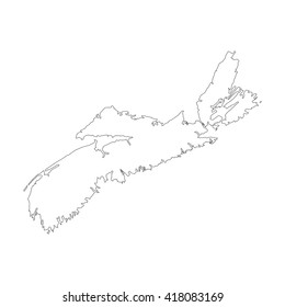 Vector map Nova Scotia. Outline map. Isolated vector Illustration. Black on White background. EPS 8 Illustration.
