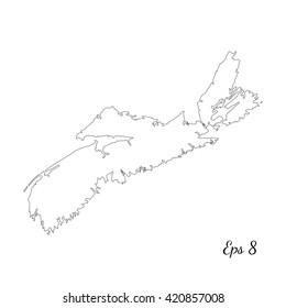 Vector map Nova Scotia. Outline map. Isolated vector Illustration. Black on White background. EPS 8 Illustration.