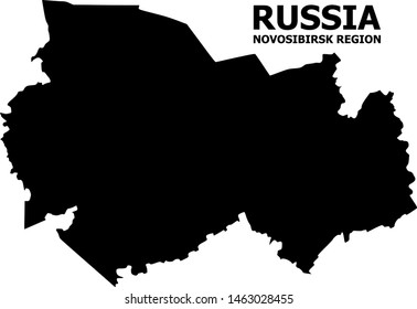 Vector Map of Novosibirsk Region with caption. Map of Novosibirsk Region is isolated on a white background. Simple flat geographic map.