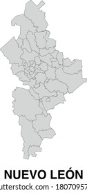 Vector Map of Nuevo Leon Mexico Divided Into Municipalities