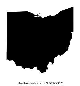 Vector map Ohio. Isolated vector Illustration. Black on White background. EPS Illustration.