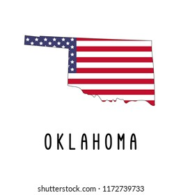 Vector map of Oklahoma painted in the colors American flag. Silhouette or borders of USA state. Isolated vector illustration