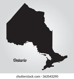 Vector map Ontario Gray Vector Illustration. Isolated vector Illustration. Black on Gradient background. EPS Illustration with an inscription Ontario.
