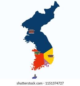 Vector map outline illustration: the Three Kingdoms Period of Korea, the three rival kingdoms of Goguryeo, Baekje and Silla dominated the Korean Peninsula.