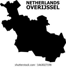 Vector Map of Overijssel Province with name. Map of Overijssel Province is isolated on a white background. Simple flat geographic map.