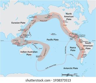 Carte vectorielle de la ceinture de feu du Pacifique avec les principaux volcans