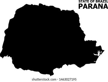 Vector Map of Parana State with caption. Map of Parana State is isolated on a white background. Simple flat geographic map.