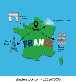 Vector map of Paris, France and Famous Landmarks, Eiffel tower, the arc de Triomphe. Lourve pyramid and Notre-dame cathedral.