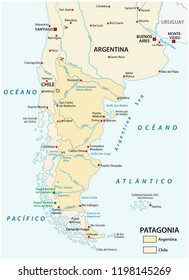 Vector map of Patagonia, the southern part of south America, Chile and Argentina.