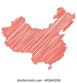 vector map of the People's Republic of China  drawing in red marker on a white background. Sketch map for infographics, brochures and presentations