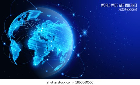 Vector. Map of the planet. Blue futuristic background. Satellites and rockets in orbit of planet Earth. World map. Social network. Global World Wide Web internet and technology.