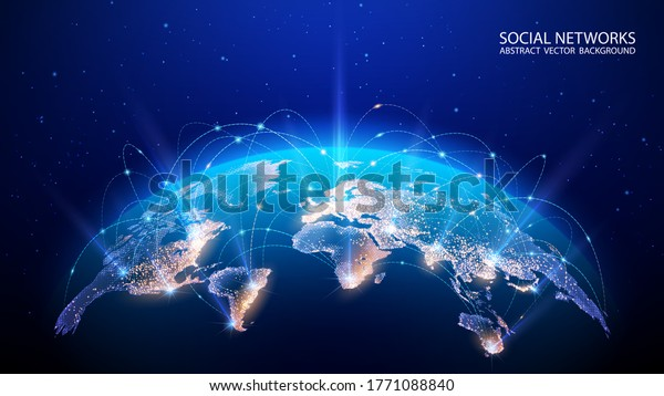 Vector. Map of the planet. World map. Global social network. Future. Blue futuristic background with planet Earth. Internet and technology. Floating blue plexus geometric background.
