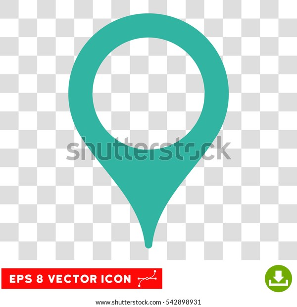 Vector Map Pointer EPS vector pictograph. Illustration style is flat iconic cyan symbol on a transparent background.