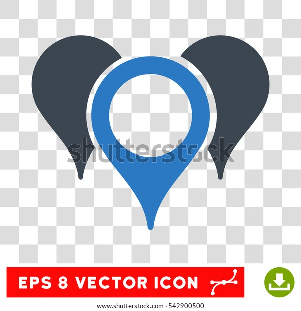 Vector Map Pointers EPS vector icon. Illustration style is flat iconic bicolor smooth blue symbol on a transparent background.
