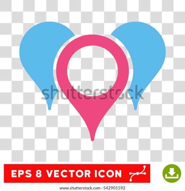 Vector Map Pointers EPS vector pictograph. Illustration style is flat iconic bicolor pink and blue symbol on a transparent background.