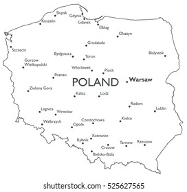 Vector map of Poland   Monochrome contour map with city names