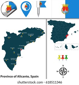 Vector map of province of Alicante with flags and icons