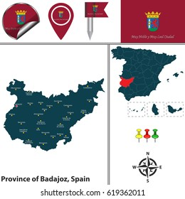 Vector map of province of Badajoz with flags and icons