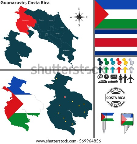 Vector Map Province Guanacaste Flag Location Stock Vector (Royalty ...