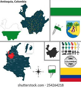 Vector map of region of Antioquia with coat of arms and location on Colombian map