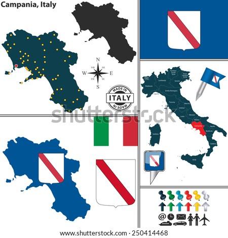 Vector Map Region Campania Coat Arms Stock Vector (Royalty Free ...