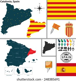 Vector map of region of Catalonia with coat of arms and location on Spanish map