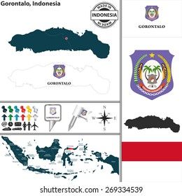 Vector map of region Gorontalo with coat of arms and location on Indonesian map