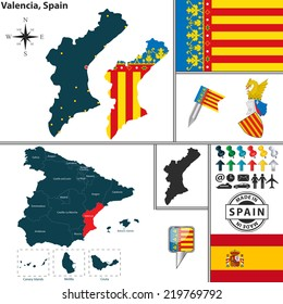 Vector map of region of Valencia with coat of arms and location on Spanish map