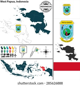 Vector map of region West Papua with coat of arms and location on Indonesian map