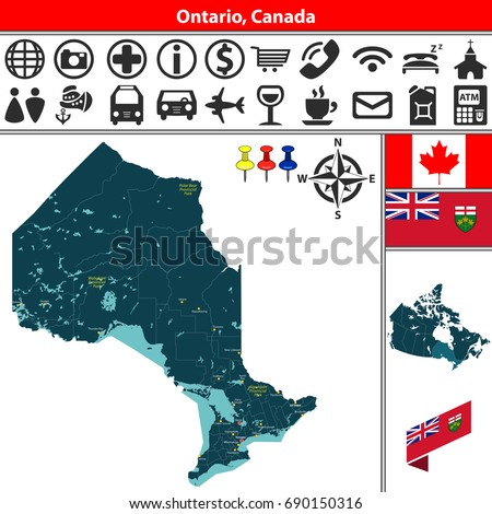 Map Of Canada With Lakes.Vector Map Regions Ontario Canada Lakes Stock Vector Royalty Free