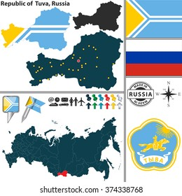Vector map of Republic of Tuva with coat of arms and location on Russian map