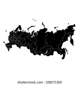 Vector map Russia. Isolated vector Illustration. Black on White background. EPS Illustration.