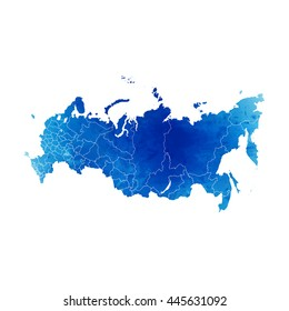 Vector map Russia. Isolated vector Illustration. Watercolor effect. EPS 10 Illustration.