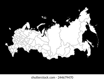 Vector Map of Russia on black background