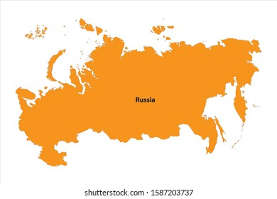 Vector Map of Russia orange