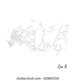 Vector map Russia. Outline map. Isolated vector Illustration. Black on White background. EPS 8 Illustration.