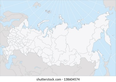 A vector map of Russia with regions as selectable editable path in EPS 10 format. The map uses Lambert's conformal conic map projection.