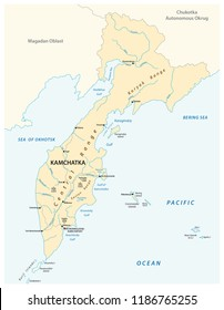 vector map of the russian far east region Kamchatka