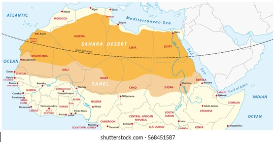 Vector map of the Sahara desert and Sahel zone