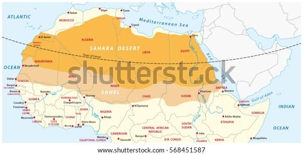 Vektor Kort Over Sahara Orkenen Og Sahel Zonen Lagervektor