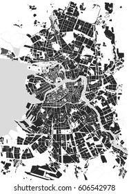 Vector map Saint Petersburg black and white, Russia