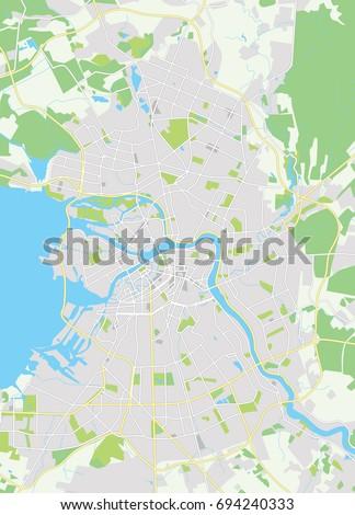 Vector Map Saint Petersburg Russia Vector Stock Vector Royalty Free