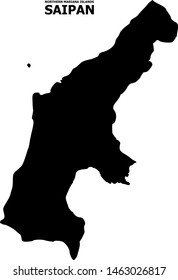 Vector Map of Saipan Island with caption. Map of Saipan Island is isolated on a white background. Simple flat geographic map.