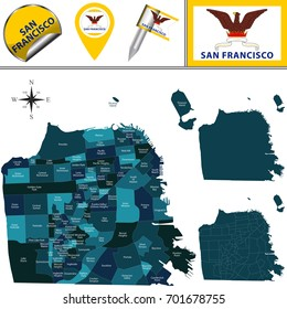 Vector map of San Francisco with named districts and travel icons