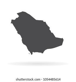 Vector map Saudi Arabia. Isolated vector Illustration. Black on White background. EPS 10 Illustration.